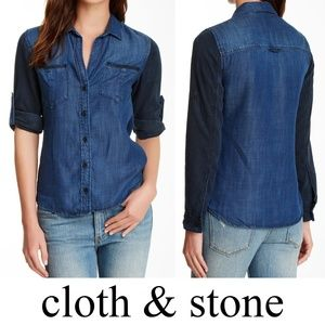 Cloth & Stone Contrast Sleeve Chambray Shirt Med
